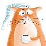 Аватар Сонная физиономия рыжего кота в ночном колпаке с чашкой кофе в лапе