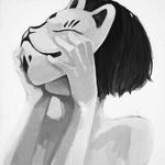 Аватар Девушка с лисьей маской на лице