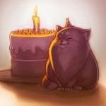 Аватар Кот возле торта со свечой