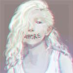 Аватар Белокурая девушка с надписью на лице в области рта (WHORE)