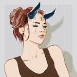 Аватар Рогатая девушка с третьим глазом во лбу, by PHAZED