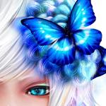 99px.ru аватар Синяя бабочка в белых волосах девушки с голубым глазом