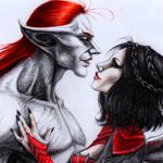 Аватар Парочка влюбленных вампиров. Мужчина с рыжими волосами и девушка с черными и сердечком