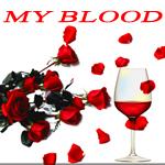 Аватар Красные розы и красное вино с надписью MY BLOOD