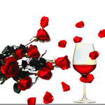 Аватар Красные розы и красное вино на белом фоне