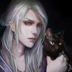 Аватар Эльф блондин с черным котиком