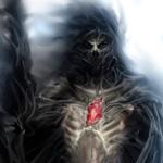 Аватар Воин-скелет в паутине с живым горящим сердцем