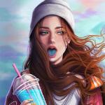 Аватар Девушка в шапочке с синим языком держит в руке напиток, by girly_m