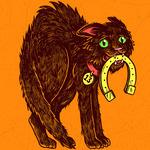 Аватар Черный кот с ошейником 13 и подковой испуганно выгнул спину