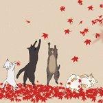 Аватар Коты под падающими осенними листьями