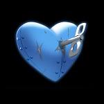 Аватар Голубое железное сердце с ключиком на черном фоне