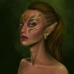 Аватар Эльфийка с разрисованным лицом / арт на игру Dragon Age, by Jinxiedoodle