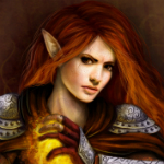 Аватар Эльфийка в латах и с магической сферой в руке / арт на игру Dragon Age, by Jinxiedoodle