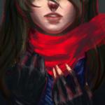 Аватар Девушка с красным шарфом, by katorius