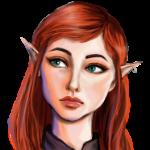 Аватар Рыжеволосая эльфийка с зелеными глазами - арт на игру Dragon Age, by HBisley-Art