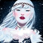 Аватар Белокурая девушка с голубыми глазами и красными губами, by Sayuki-Art