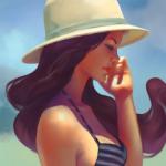 Аватар Девушка с длинными коричневыми волосами в купальнике и в белой шляпке, by Lagunaya