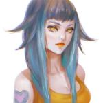 Аватар Девушка с голубыми волосами и татуировкой на плече, by Lagunaya