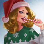 Аватар Девушка в новогодней шапочке кусает леденец, by Lagunaya