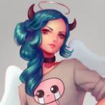 Аватар Девушка с голубыми волосами, рожками и крыльями, by Lagunaya