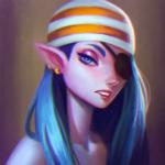 Аватар Эльфийка пират с синими волосами и повязкой на глазу, by Lagunaya