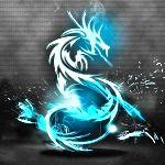 Аватар Светящийся голубым цветом, дракон