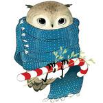 Аватар Сова сидит на сахарной трости в шарфе