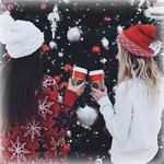 Аватар Две девушки со стаканами в руках стоят возле новогодней елки
