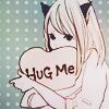 Аватар Неко-девочка обнимает сердечко с надписью Hug Me (Обними меня)