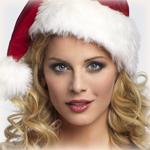 Аватар Светловолосая девушка в новогодней шапочке