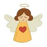 Аватар Ангелочек с закрытыми глазами с сердечком на белом фоне