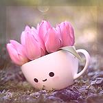 Аватар Кружка с розовыми тюльпанами стоит в траве, by meganjoy