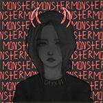 Аватар Девушка с пририсованными рогами на фоне ярко-красных надписей MONSTER / МОНСТР (слухи)