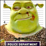 Аватар Шрек / Shrek на фоне полицейской разметки, мультфильм Шрек / Shrek