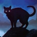 Аватар Силуэт черного кота на фоне ночного пейзажа