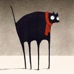 99px.ru аватар Огромный кот с тонкими лапами под падающим снегом