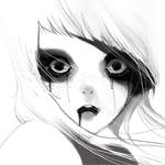 Аватар Испуганная белокурая девушка с веснушками, из глаз и рта которой вытекает черная жижа, by iumazark