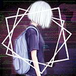 99px.ru аватар Белокурая девушка с рюкзаком за спиной, в профиль, на фоне глитчей