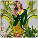 Аватар Блондинка с длинными волосами в желтом платье и зеленом жакете на фоне рамки из цветов