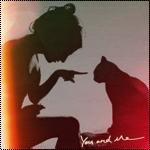 Аватар Силуэты девушки и кошки (You and me / Ты и я)