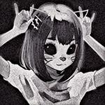 Аватар Девочка с большими пустыми демоническими глазницами, с подрисованными неко-ушками, носом и усиками, приложила руки как рожки к голове