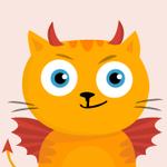 99px.ru аватар Дьявольски ухмыляющийся рыжий котик с красными крыльями и рожками