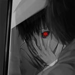 Аватар Ken Kaneki / Кен Канеки из аниме Tokyo Ghoul / Токийский Гуль смотрит на свое отражение