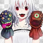 Аватар Белокурая красноглазая девочка-вампирка с надетыми на руки игрушечными монстрами улыбается