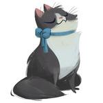 Аватар Довольная серо-белая кошечка с голубым бантом на шее, art by Heather Nesheim