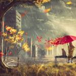 Аватар Девушка и кошка с красным зонтом сидят на лавочке под дождем, рядом стоит город