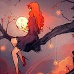 Аватар Рыжая девушка с луной в руках сидит на ветке дерева, с которой свисают звезды, by Elentori
