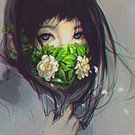 Аватар Девушка, лицо которой наполовину закрывает распиратор из листьев и цветов, by Yuumei