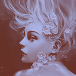 Аватар Белокурая девушка с белыми цветами в волосах и на шее, под водой, by Yuumei