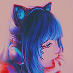 Аватар Девушка с синими волосами в наушниках с нэко-ушками, by Yuumei